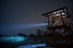 Столб предохранителя на ноче Стоковые Изображения RF