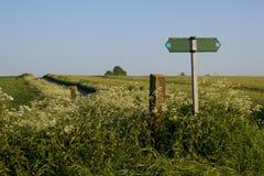 Столб указателя в поле Стоковое Фото
