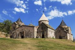 Столетия Goshavank-армянского средневекового монастыря сложные XII-XIII стоковое фото