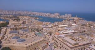 Столица воздушного взгляда панорамы старая Валлетты акции видеоматериалы