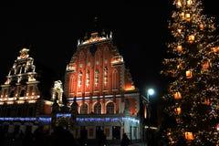 Столица Латвии - Риги в последнем вечере стоковые изображения
