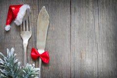 Столовый прибор рождества на ретро предпосылке меню еды конспекта таблицы Стоковое фото RF
