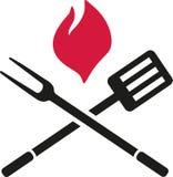 Столовый прибор BBQ с пламенем иллюстрация штока