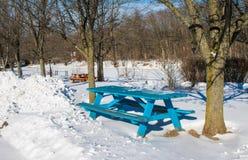 Стол для пикника Teal в снеге стоковое изображение