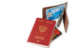 Стол частого путешественника - взгляда угла Состав существенных элементов для отключения: паспорт с печатями многократного входа, стоковое фото rf