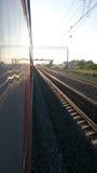 Стопы поезда на станции Стоковая Фотография