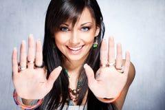 стоп выставки рук девушки ся Стоковые Фотографии RF