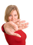 стоп знака жеста красный Стоковое фото RF