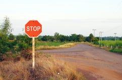 стоп знака проселочной дороги Стоковые Изображения