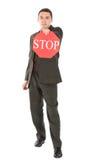 стоп знака удерживания бизнесмена Стоковое фото RF