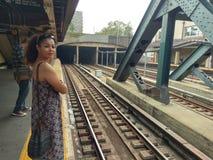 Стоп метро Над-земли в Нью-Йорке Стоковое Изображение RF