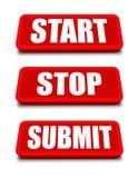 Стоп старта представляет кнопку Стоковые Фотографии RF