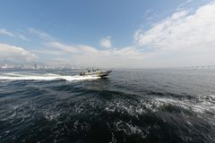 Сторожевой катер военно-морского флота в заливе Guanabara стоковое фото
