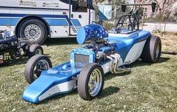 Сторона автомобиля гоночного автомобиля в голубом и белом Стоковые Изображения RF