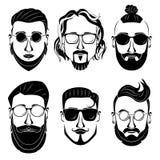Сторона битника на белой предпосылке бородатый человек Стоковые Изображения