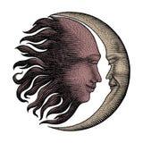 Сторона в деньги гравировки чертежа руке Солнця и луны винтажные выравнивает d иллюстрация вектора