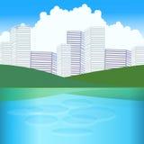 Сторона города с озером Стоковые Изображения
