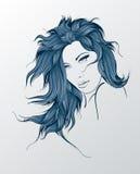 Сторона девушки красотки на белой предпосылке Стоковые Изображения RF