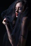 Сторона женщины в черной вуали Стоковое Изображение