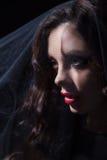 Сторона женщины в черной вуали Стоковые Фото