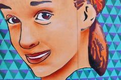 Сторона женщины граффити стоковые фотографии rf
