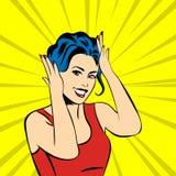 Сторона женщины искусства шипучки удивленная с улыбкой иллюстрация штока