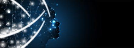 Сторона женщины искусственного интеллекта темная Предпосылка сети технологии Виртуальное conc бесплатная иллюстрация
