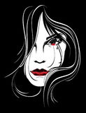 Сторона женщины на черной предпосылке Стоковая Фотография