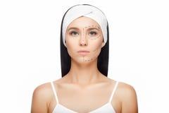 Сторона женщины пластической хирургии Стоковые Фото