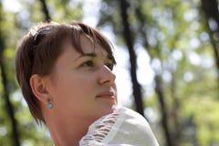 Сторона задумчивой женщины Стоковые Фотографии RF