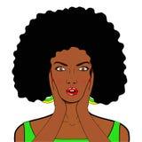 Сторона искусства шипучки вау Сексуальная удивленная африканская женщина с открытым ртом i бесплатная иллюстрация