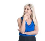 Сторона красивой белокурой изолированной бизнес-леди стоковое изображение