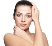 Сторона красотки молодой женщины. Принципиальная схема внимательности кожи. Стоковые Изображения