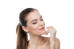 Сторона красоты красивой женщины с чистой свежей кожей Стоковые Фотографии RF