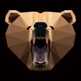 Сторона медведя которая ревет Низко-поли стиль Стоковое Изображение RF