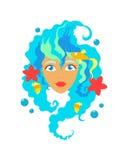 Сторона милой девушки с улыбкой Шарж и плоский стиль вектор изображения иллюстрации элемента конструкции Белая предпосылка также  Стоковое Изображение RF