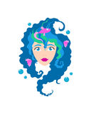 Сторона милой девушки с улыбкой Шарж и плоский стиль вектор изображения иллюстрации элемента конструкции Белая предпосылка также  Стоковые Фото
