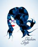 Сторона на свете - голубое backgro девушки красоты Стоковые Изображения