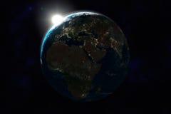 сторона ночи европы земли Африки Азии Стоковые Изображения RF
