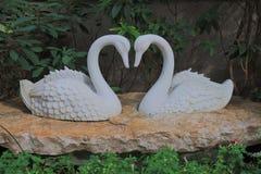 Сторона облицовки статуи лебедя белая Стоковое Фото