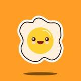 Сторона оптимистического характера kawaii яичницы милая Стоковое Изображение RF