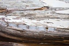 сторона планок крупного плана шлюпки старая деревянная Стоковые Изображения RF