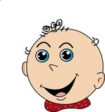 Сторона ребенк шаржа счастливая усмехаясь, изображение вектора иллюстрация штока