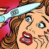 Сторона страха женщины прокладок теста на беременность 2 иллюстрация штока