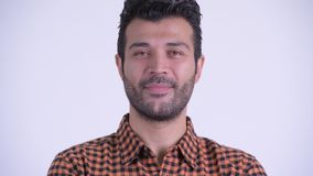 Сторона счастливого бородатого персидского человека хипстера кивая головой да сток-видео