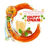Сторона танцора Kathakali на grungy предпосылке для счастливого Onam иллюстрация вектора