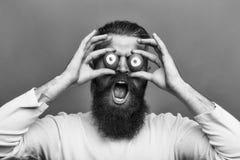 Сторона человека красивая Эмоциональный бородатый человек с глазами яичка Стоковые Фото