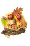 Сторона человека сделанная листьев падения осени и украшений падения Стоковая Фотография