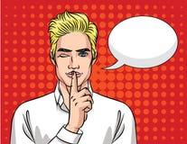 Сторона человека с пузырем речи над влиянием предпосылки полутонового изображения Иллюстрация штока