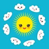 Сторона Babushka русского matrioshka куклы усмехаясь с розовыми щеками, цветками эскиза и контурами листьев на черной предпосылке Стоковые Изображения